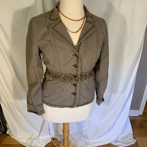 Johnny was fitted plaid embroidered blazer. L